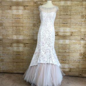 NWOT Sherri Hill 51114 White and Cream Lace Dress